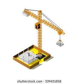 Isometric industrial crane vector icon. 3d construction site.