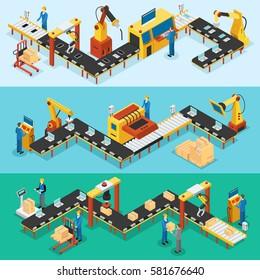 Horizontale Banner in der Fabrik mit automatisierten Fertigungsstraßen zur Montage und Verpackung von Vektorgrafik