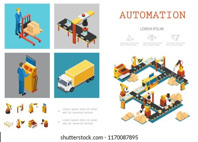 Isometric industrial factory infographic template with automated assembly line workers and mechanical robotic arms vector illustration