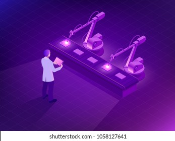 Isometric Industrial robot working in factory. Man holding a tablet with Augmented reality screen software and of automate wireless Robot arm in smart factory background. Vector illustration.