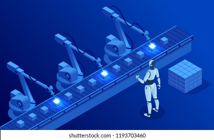 Isometric Industry 4.0 concept. Artificial intelligence. Digital manufacturing operation. Humanoid Robot with AI check and control welding robotics automatic arms machine. Vector illustration