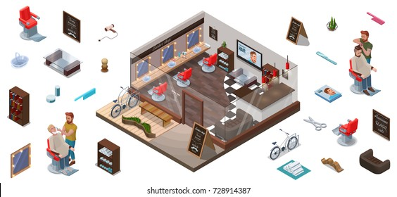 Isometric infographic 3d barber shop interior constructor, hairdresser cutting hair or beard, characters, collection for creation hipster hair salon with people, barbershop chair, bicycle, scissors