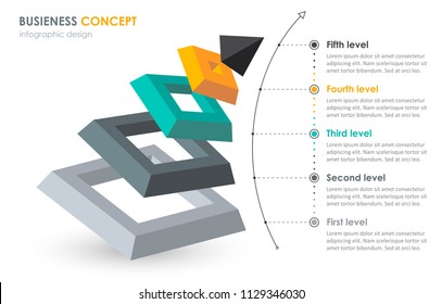 Isometric Infographic design with 5 options leves or steps. Infographics for business concept. Can be used for presentations banner, workflow layout, process diagram, flow chart, info graph