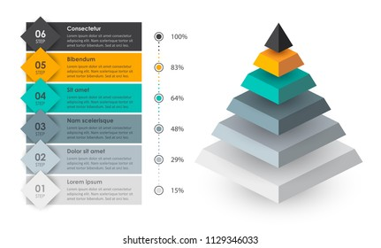 Isometric Infographic design with 6 options leves or steps. Infographics for business concept. Can be used for presentations banner, workflow layout, process diagram, flow chart, info graph