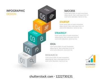 Isometric Infographic design with icons and 5 options leves or steps. Infographics for business concept. Can be used for presentations banner, workflow layout, process diagram, flow chart, info graph