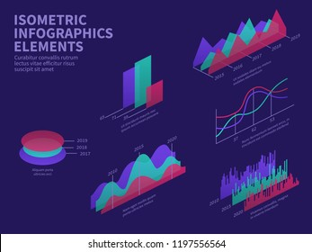 Isometric infographic elements. 3d graphs, bar chart, market histogram and layer diagram. Business presentation vector infographics. Illustration of chart 3d flat, graph design information