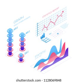Isometric infographic elements with charts, statistics, data visualization, analysis, report, bar diagrams, graphs in flat 3D design isolated on white background