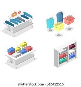 Isometric infographic flat 3D concept vector interior of clothing store inside.