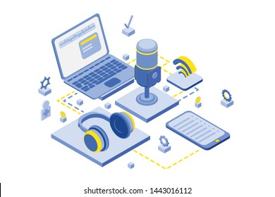 Isometric infographic illustration for podcasting banners and templates. 3D equipment collection for blogging, webinar, podcasting and broadcasting, online radio. Isometric vector concept illustration