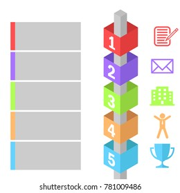 Isometric Infographic Poster, 3D cube and simple icons. sequence of operations of operations