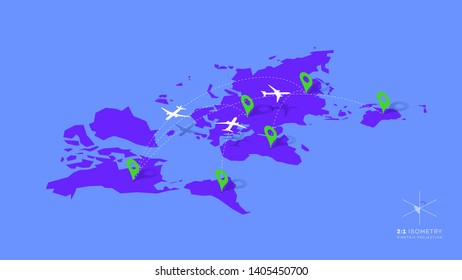 Isometric Infographic Vector Illustration With Planes, Dotted Direction Paths And Map Pointers Over Worldmap. Template For Plane Tracking Design.