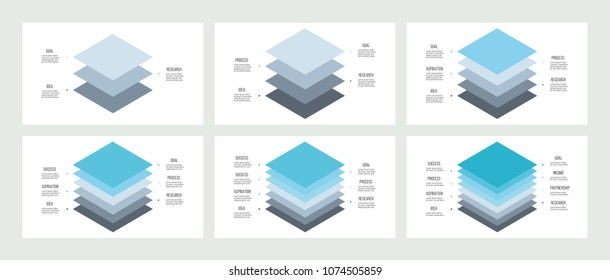 Isometric infographics. Diagrams, charts, graphs with 3, 4, 5, 6, 7, 8 options, levels, layers. Vector templates.
