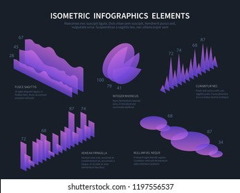 Isometric infographics elemnts. Business graphics, statistics data charts and financial bar diagrams. 3d infographic vector set. Illustration of purple 3d visualization, statistic business