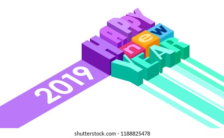 isometric inscription happy new year