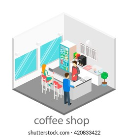 Isometric interior of coffee shop.