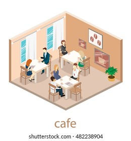 Isometric interior of coffee shop.People sit at tables and eat. Concept illustration of the room.