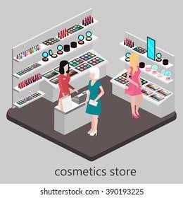 Isometric interior of cosmetics shop