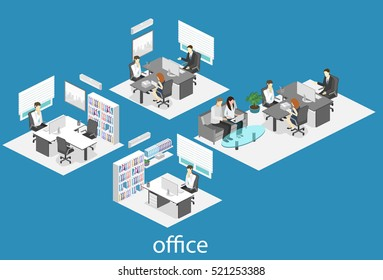 isometric interior of director's office. Flat 3D illustration of cabinet.