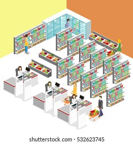Isometric interior of grocery store. Shopping mall flat 3d isometric concept web vector illustration.