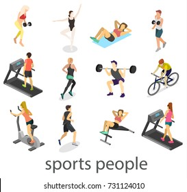 Isometric interior of gym. People involved in sports