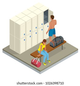 Isometric Interior of a locker and changing room. Vector changing locker room with shower enclosures benches and storage closets illustration