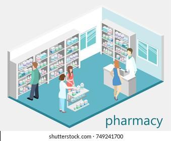 Isometric interior of pharmacy. Flat 3D vector infographic illustration