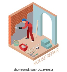 Isometric interior repairs concept. Builder is plastering the brick wall. Plasterer in uniform holds a  spatula. Worker, tools and fragment of interior with arch. Vector flat 3d illustration.