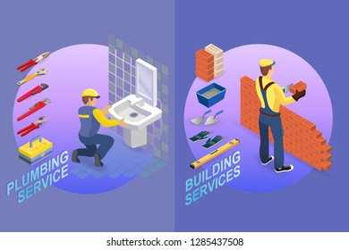 Isometric interior repairs concept. Plumber is installing washbasin in a bathroom. Bricklayer in uniform holds a brick and spatula. Worker builds a brick wall. Vector flat illustration.
