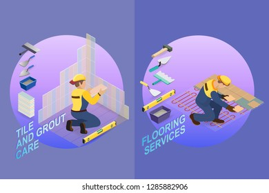 Isometric interior repairs concept. Tiler is tying colorful tile on the corner of the premises. Installing tiles on insulated floor. Repairer is laying tile. Vector flat 3d illustration.