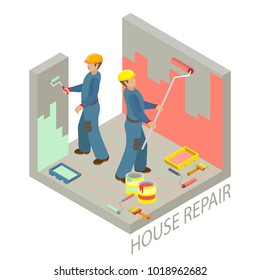 Isometric interior repairs concept. Two decorators are painting the walls of the room with paint roller. Builders in uniform. Workers, tools and fragment of interior. Vector flat 3d illustration.