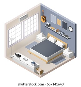 Isometric interior, room of a house, cutaway icon. light bedroom. Home furniture. Blue wall, bed, windows, books, lamps. Vector illustration