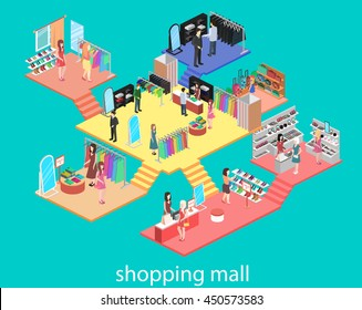 isometric interior of shopping mall. Flat 3d vector illustration.