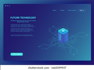 Isometric internet equipment illustration. Powered server and data center. Graphic concept for your design. Concept of big data processing center