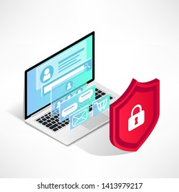 Isometric internet security concept. Data protection vector illustration with laptop, 3d screen and shield isolated on white background. Safety and confidential personal information concept