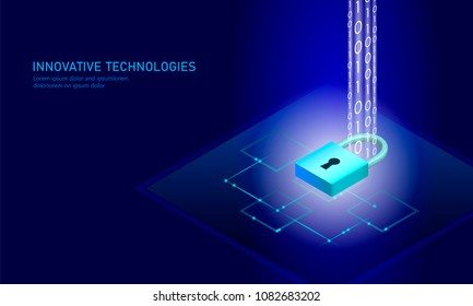 Isometric internet security lock business concept. Blue glowing isometric personal information data connection pc smartphone future technology. 3D infographic vector illustration