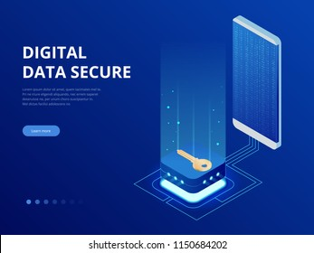 Isometric internet security lock transferring data from a smartphone to database concept. Hacking smartphone user database. Internet security shield business