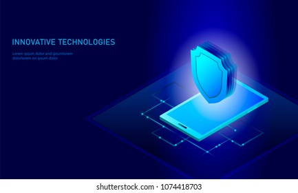 Isometric internet security shield business concept.