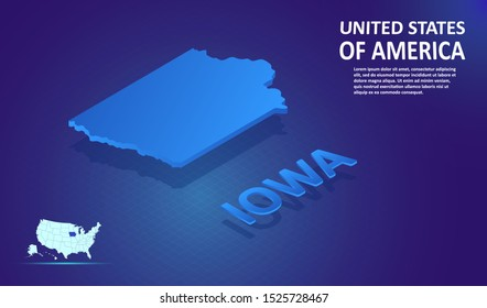 Isometric IOWA State map on blue and glowing background. 3D Detailed Map in perspective with place for your text or description.Technology Information Graphic Elements for Website, app, UI, Travel