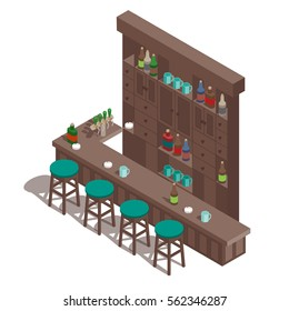Isometric irish pub bar.