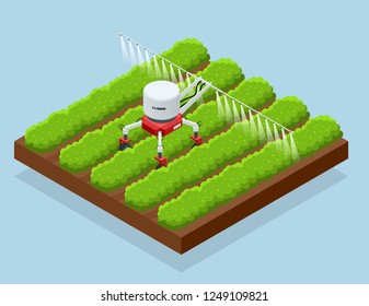 Isometric irrigational smart robotic system on the field. Automated agriculture, technology. Robot farmers programmed to work to spray chemical or water