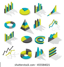 Isometric isolated and colored graphs icon set with shadows for presentations and financial statements vector illustration