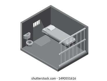 Isometric jail, prison cell, concept illustration vector suitable for app, game asset, etc
