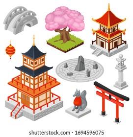 Isometric Japan vector illustration. Cartoon 3d Japanese travel city landmark, oriental pagoda house temple, asian bridge. Traditional garden, cherry sakura tree, Japan tourism icons isolated on white