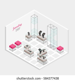 Isometric jewelry shop modern interior vector illustration.