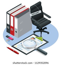 Isometric Job recruiting advertisement, Job opportunity. Office chair and a sign vacant. Hiring and recruitment. Business leadership. Recruitment concept.