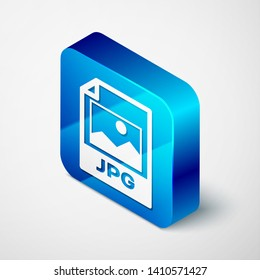Isometric JPG file document icon. Download image button icon isolated on white background. JPG file symbol. Blue square button. Vector Illustration