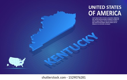Isometric KENTUCKY State map on blue and glowing background. 3D Detailed Map in perspective with place for your text or description.Technology Information Graphic Elements for Website, app, UI, Travel