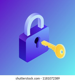 Isometric key in 3d lock. Gradient padlock with keyhole. Privacy access. Digital data protection. Security network and protect information. Vector design for web
