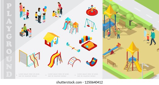 Isometric kids playground elements composition with playhouse, slides, sandbox, swings, ladders, seesaw, parents playing with children vector illustration