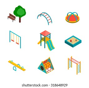 Isometric kids playground icons set. 3d children swings, slide, sandbox and other objects, vector illustration.
